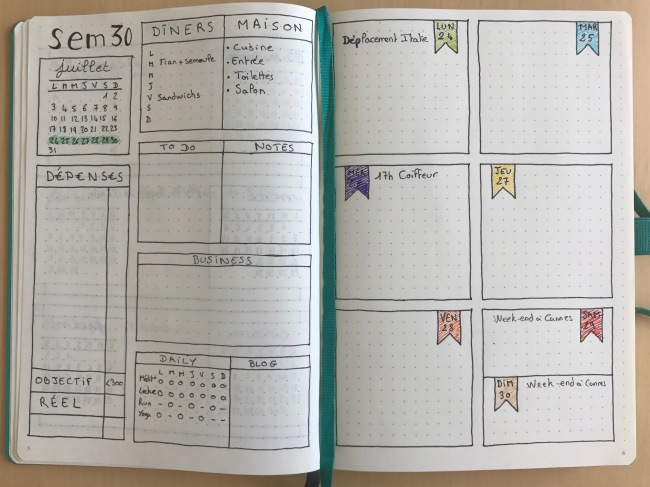 bullet journal weekly log